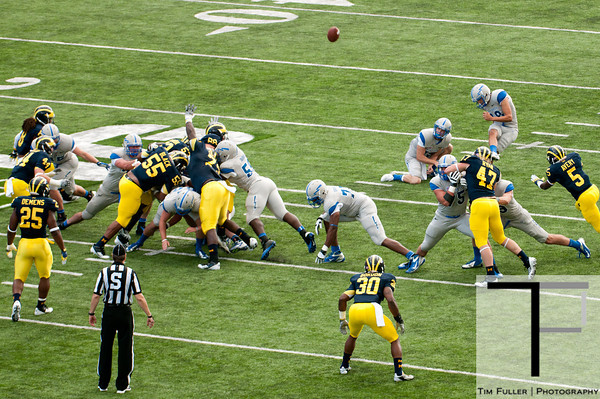 Sep 8, 2012; Ann Arbor, MI, USA; Air Force Falcons kicker Parker Herrington (18) kicks a field goal against the Michigan Wolverines during the first quarter at Michigan Stadium. Mandatory Credit: Tim Fuller-Air Force Academy Athletics