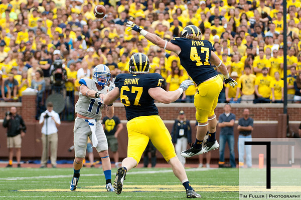 Sep 8, 2012; Ann Arbor, MI, USA; Air Force Falcons quarterback Connor Dietz (11) passes during the second half against the Michigan Wolverines at Michigan Stadium. Mandatory Credit: Tim Fuller-Air Force Academy Athletics
