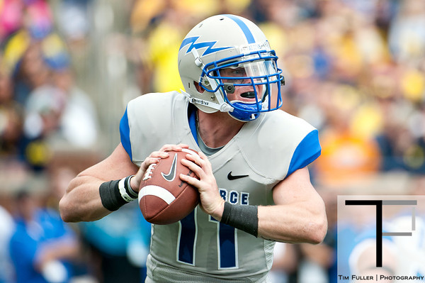 Sep 8, 2012; Ann Arbor, MI, USA; Air Force Falcons quarterback Connor Dietz (11) looks to pass against the Michigan Wolverines during the second quarter at Michigan Stadium. Mandatory Credit: Tim Fuller-Air Force Academy Athletics