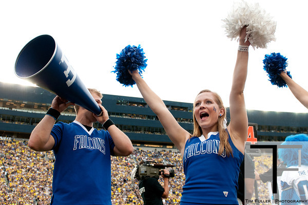 Sep 8, 2012; Ann Arbor, MI, USA; Air Force Falcons cheerleaders during the second half against the Michigan Wolverines at Michigan Stadium. Mandatory Credit: Tim Fuller-Air Force Academy Athletics